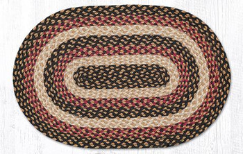 "20"" x 30"" Burgundy Black Dijon Braided Jute Oval Rug"