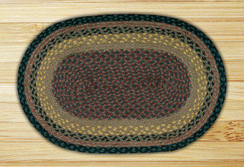 "20"" x 30"" Brown Black Charcoal Braided Jute Oval Rug"