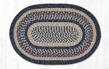 "20"" x 30"" Black & Tan Braided Jute Oval Rug"