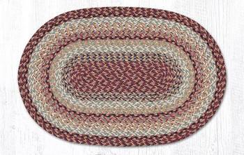 "20"" x 30"" Burgundy Color Braided Jute Oval Rug"
