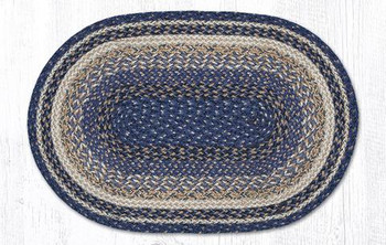 "20"" x 30"" Deep Blue Braided Jute Oval Rug"