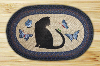 "20"" x 30"" Cat & Grasshopper Braided Jute Oval Rug by Karl Johnson"
