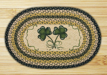 "20"" x 30"" Shamrock Braided Jute Oval Rug by Susan Burd"