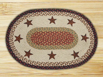 "20"" x 30"" Barn Stars Braided Jute Oval Rug by Susan Burd"