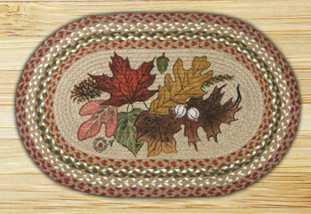 "20"" x 30"" Autumn Leaves Braided Jute Oval Rug Phyllis Stevens"