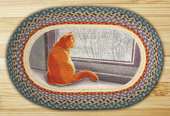 "20"" x 30"" Orange Window Cat Braided Jute Oval Rug"