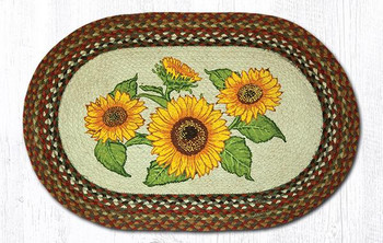 "20"" x 30"" Sunflowers Braided Jute Oval Rug by Sandy Clough"