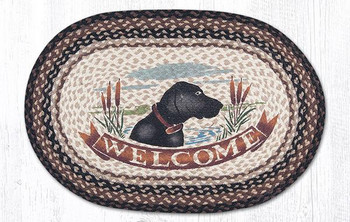 "20"" x 30"" Welcome Dog Braided Jute Oval Rug"