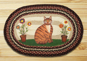 "20"" x 30"" Folk Art Cat Braided Jute Oval Rug by Susan Burd"
