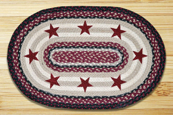 "20"" x 30"" Light Burgundy Stars Braided Jute Oval Rug"