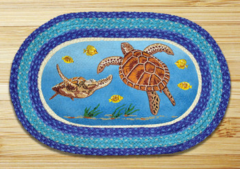 """20"""" x 30"""" Swimming Sea Turtles Braided Jute Oval Rug by Harry W Smith"""