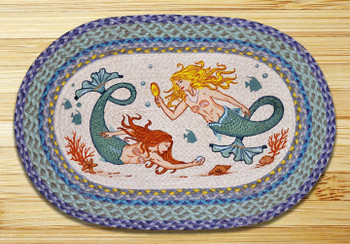 "20"" x 30"" Swimming Mermaids Braided Jute Oval Rug by Harry W Smith"