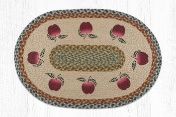 "20"" x 30"" Apples Braided Jute Oval Rug"