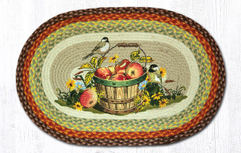 "20"" x 30"" Apples and Chickadee Birds Jute Oval Rug by Sandy Clough"