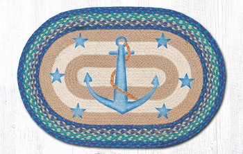 """20"""" x 30"""" Anchor and Stars Braided Jute Oval Rug by Sandy Clough"""