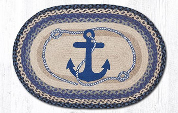 "20"" x 30"" Navy Anchor Braided Jute Oval Rug by Harry W. Smith"