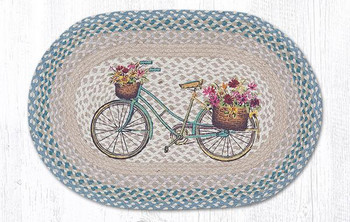 "20"" x 30"" My Bicycle with Flowers Braided Jute Oval Rug"