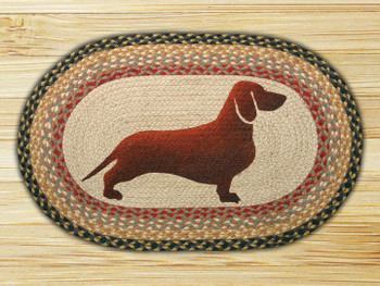 "20"" x 30"" Dachshund Braided Jute Oval Rug by Karl Johnson"