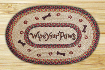 "20"" x 30"" Wipe Your Paws Braided Jute Oval Rug by Phyllis Stevens"