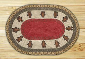 """20"""" x 30"""" Gingerbread Men Braided Jute Oval Rug by Susan Burd"""