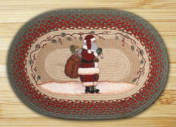 "20"" x 30"" Santa Claus Braided Jute Oval Rug"