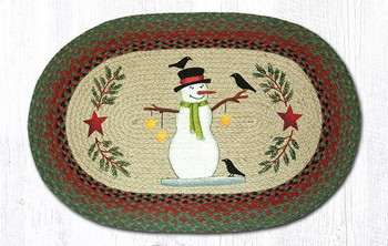 "20"" x 30"" Snowman with Crow Birds Jute Oval Rug by Sandy Clough"