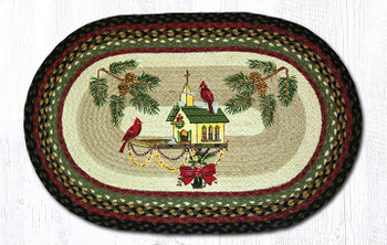 "20"" x 30"" Christmas Cardinal Birds on Birdhouse Braided Jute Oval Rug"