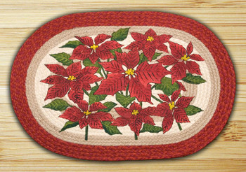 "20"" x 30"" Poinsettia Braided Jute Oval Rug by Phyllis Stevens"