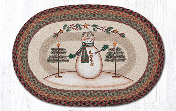 "20"" x 30"" Snowman with Moon and Stars Jute Oval Rug by Sandy Clough"