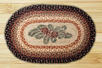 "20"" x 30"" Pinecone Red Berry Braided Jute Oval Rug"