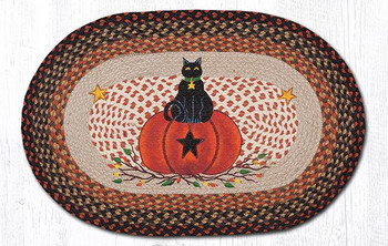 "20"" x 30"" Black Cat Sitting on a Pumpkin Braided Jute Oval Rug"