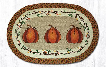 "20"" x 30"" Harvest Pumpkin Braided Jute Oval Rug by Susan Burd"
