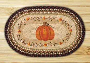 "20"" x 30"" Pumpkin Candy Corn Braided Jute Oval Rug by Susan Burd"