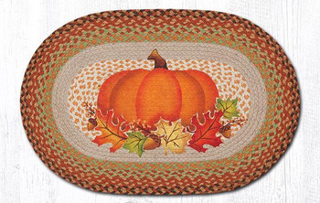 "20"" x 30"" Pumpkin with Fall Leaves Jute Oval Rug by Suzanne Pienta"