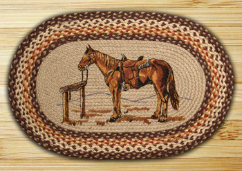 "20"" x 30"" Horse Braided Jute Oval Rug by Harry W. Smith"