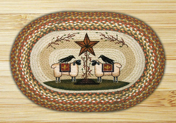 "20"" x 30"" Sheep & Barn Star Braided Jute Oval Rug by Susan Burd"