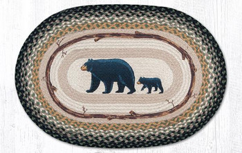 "20"" x 30"" Mama and Baby Bear Braided Jute Oval Rug by Jan Harless"