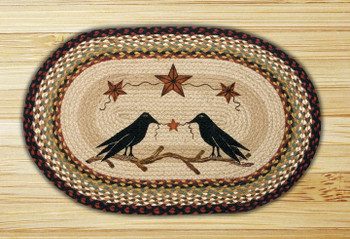 "20"" x 30"" Crow & Barn Stars Braided Jute Oval Rug by Susan Burd"