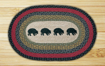 "20"" x 30"" Four Black Bears Braided Jute Oval Rug"