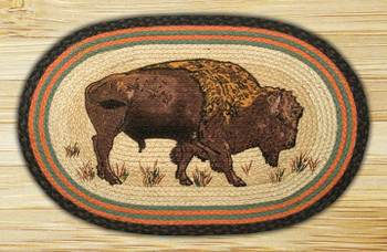 "20"" x 30"" Buffalo Braided Jute Oval Rug by Harry W. Smith"