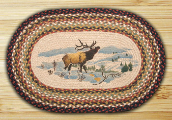 "20"" x 30"" Winter Elk Braided Jute Oval Rug"