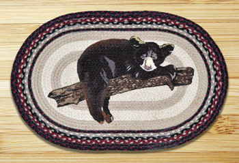 "20"" x 30"" Baby Bear on Branch Braided Jute Oval Rug by Jan Harless"