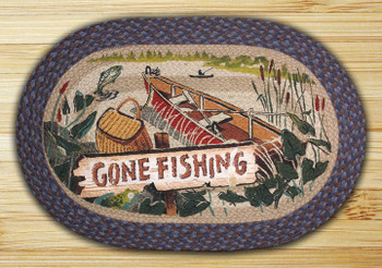 """20"""" x 30"""" Gone Fishing Braided Jute Oval Rug by Phyllis Stevens"""