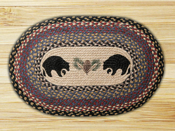"20"" x 30"" Black Bears Braided Jute Oval Rug"