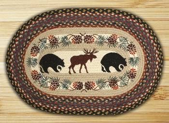 "20"" x 30"" Moose & Bears Braided Jute Oval Rug"