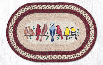 "20"" x 30"" Assorted Birds on a Wire Braided Jute Oval Rug"