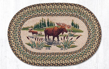 "20"" x 30"" Moose Wading in Water Braided Jute Oval Rug by Sandy Clough"