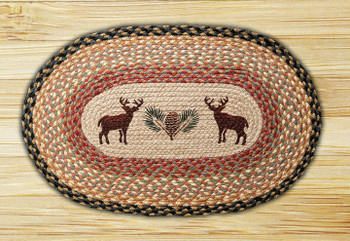 "20"" x 30"" Deer & Pinecone Braided Jute Oval Rug"