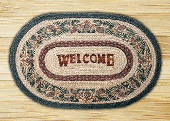 """20"""" x 30"""" Pinecone Welcome Braided Jute Oval Rug"""