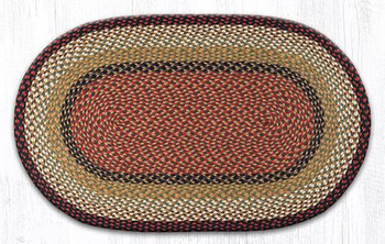 "27"" x 45"" Burgundy Mustard Braided Jute Oval Rug"